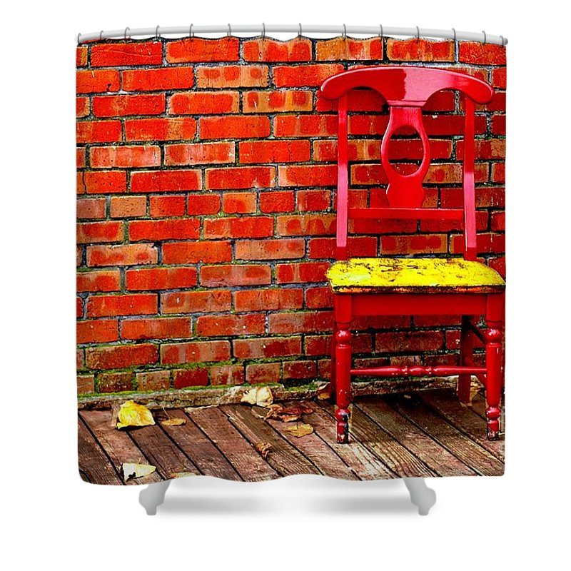 Red Shower Curtain featuring the photograph Red Chair by Penny Haviland