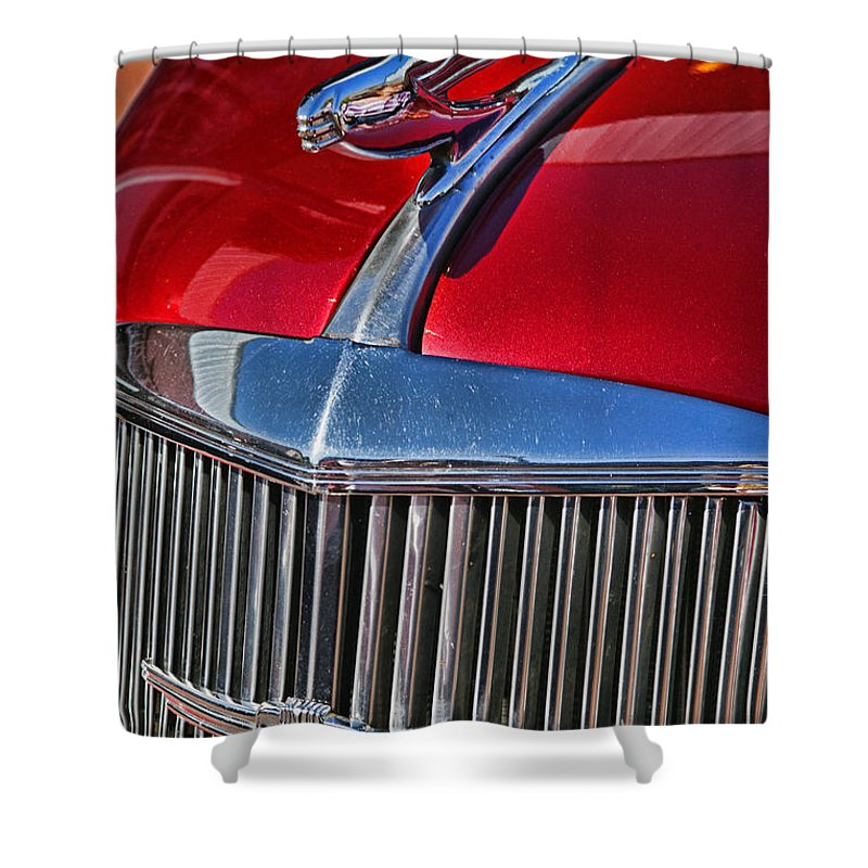 Cars Shower Curtain featuring the photograph Red Chevrolet Grill And Hood Ornament by Randy Harris