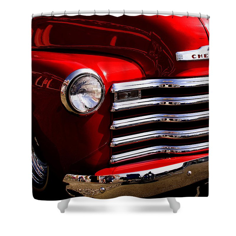 Truck Shower Curtain featuring the photograph Red Chevy Truck by David Patterson