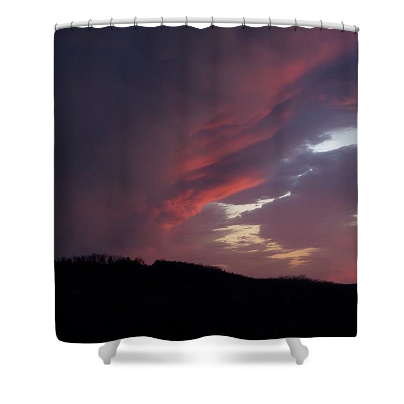 Red Clouds Shower Curtain featuring the photograph Red Clouds 2 by Toni Berry
