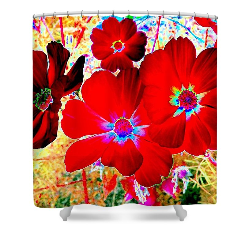 Red Cosmos Shower Curtain featuring the digital art Red Cosmos by Will Borden