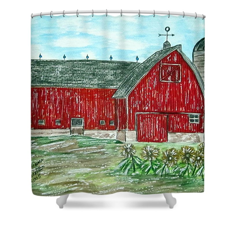 Red Shower Curtain featuring the painting Red Country Barn by Kathy Marrs Chandler