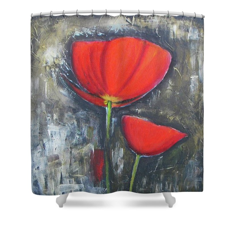 Abstract Shower Curtain featuring the painting Red Couple by Vesna Antic