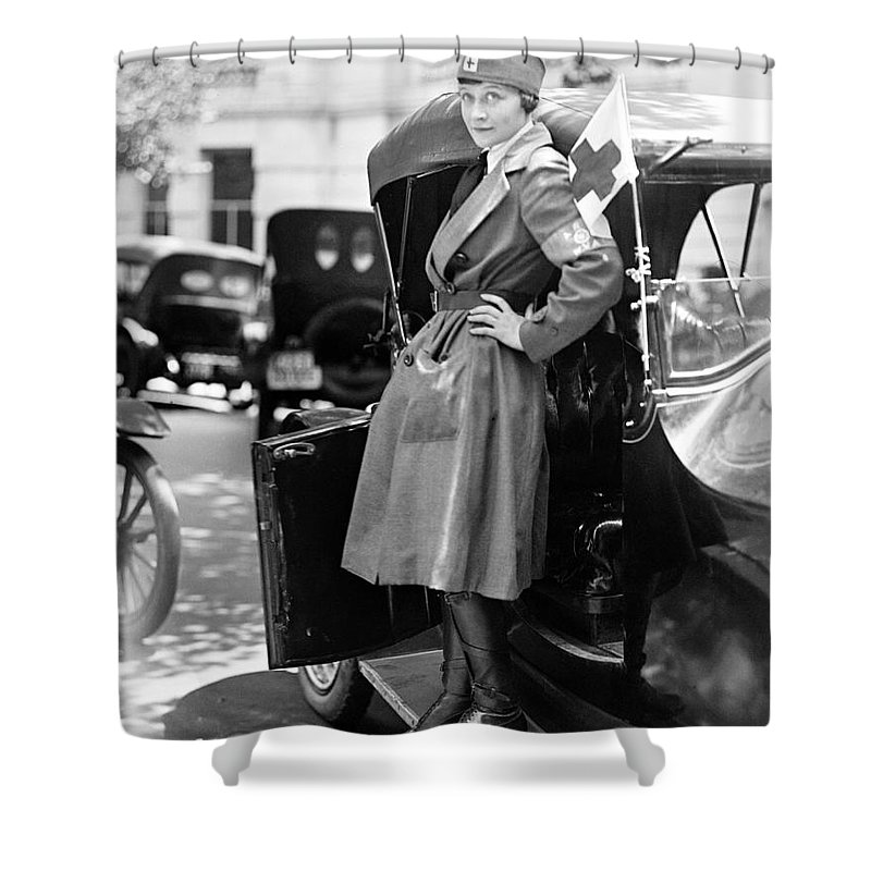 1917 Shower Curtain featuring the photograph Red Cross, 1917 by Granger