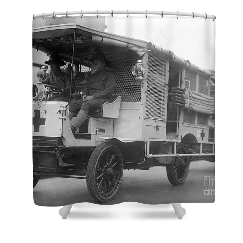 1910s Shower Curtain featuring the photograph Red Cross: Ambulance by Granger