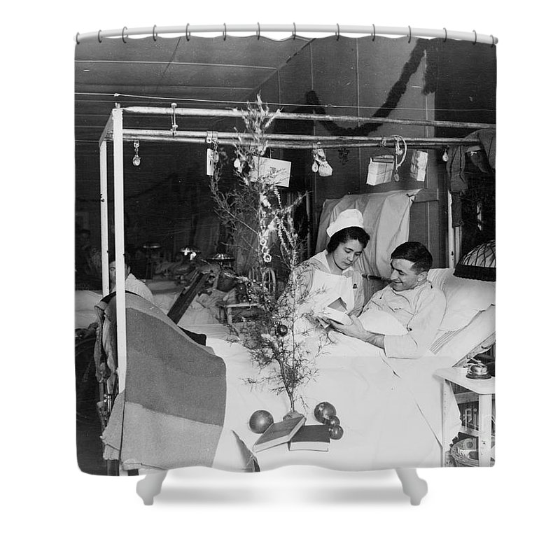 1915 Shower Curtain featuring the photograph Red Cross: Christmas by Granger