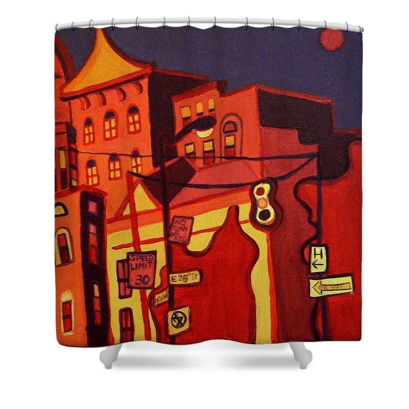 Landscape Shower Curtain featuring the painting Red Cruising Baltimore by Debra Bretton Robinson