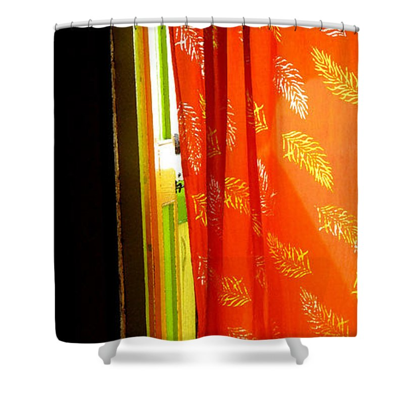 Red Shower Curtain featuring the photograph Red Curtain In The Doorway by Ian MacDonald