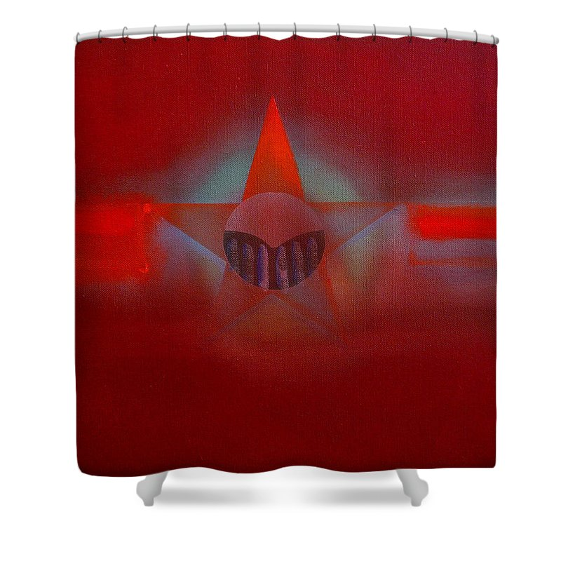 Usaaf Insignia And Idealised Landscape In Union Shower Curtain featuring the painting Red Dawn by Charles Stuart