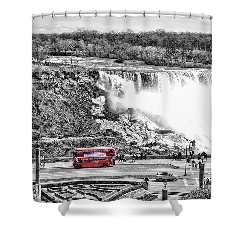 Niagara Falls Shower Curtain featuring the photograph Red Double Decker by Traci Cottingham