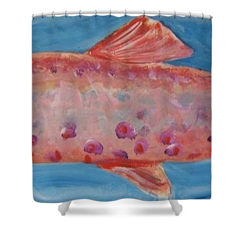 Fish Shower Curtain featuring the painting Red Fish by Todd Artist