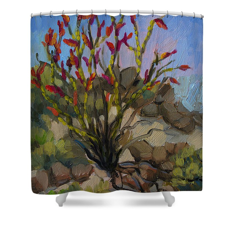 Ocotillo Shower Curtain featuring the painting Red Flame Ocotillo 5 by Diane McClary