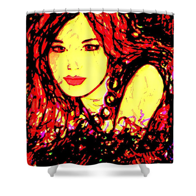 Woman Shower Curtain featuring the painting Red Flirt by Natalie Holland