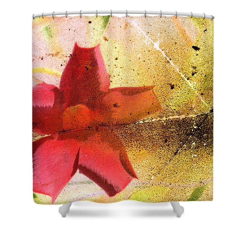 Red Shower Curtain featuring the photograph Red Floral Grunge by Cassie Peters
