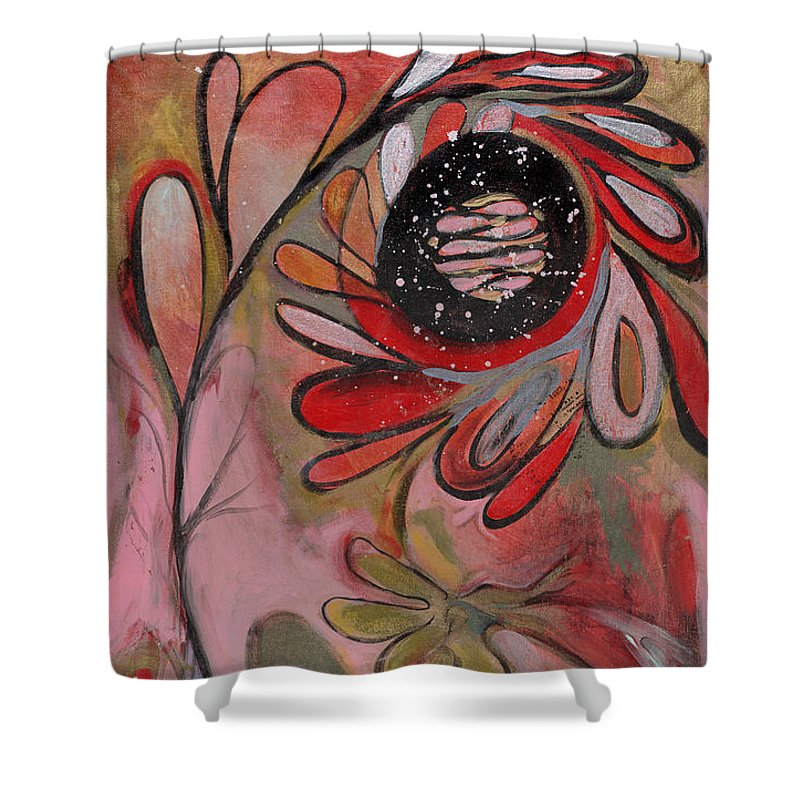 Painting Shower Curtain featuring the painting Red Flower by Michelle Spiziri