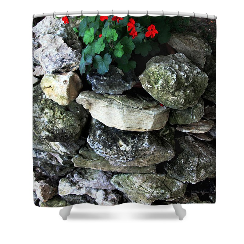 Red Flowers Shower Curtain featuring the photograph Red Flowers And Rocks by Joanne Coyle