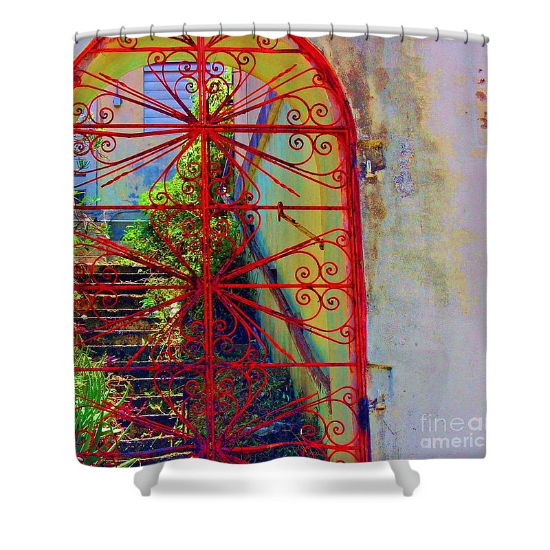Gate Shower Curtain featuring the photograph Red Gate by Debbi Granruth