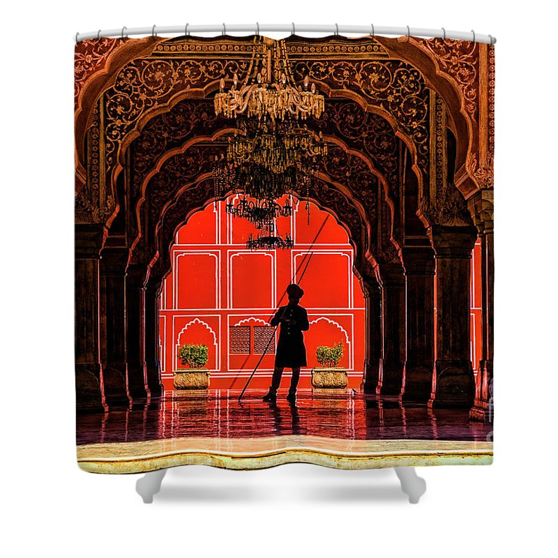 India Jaipur Indian Forts. Shower Curtain featuring the photograph Red Gaurd by Rick Bragan