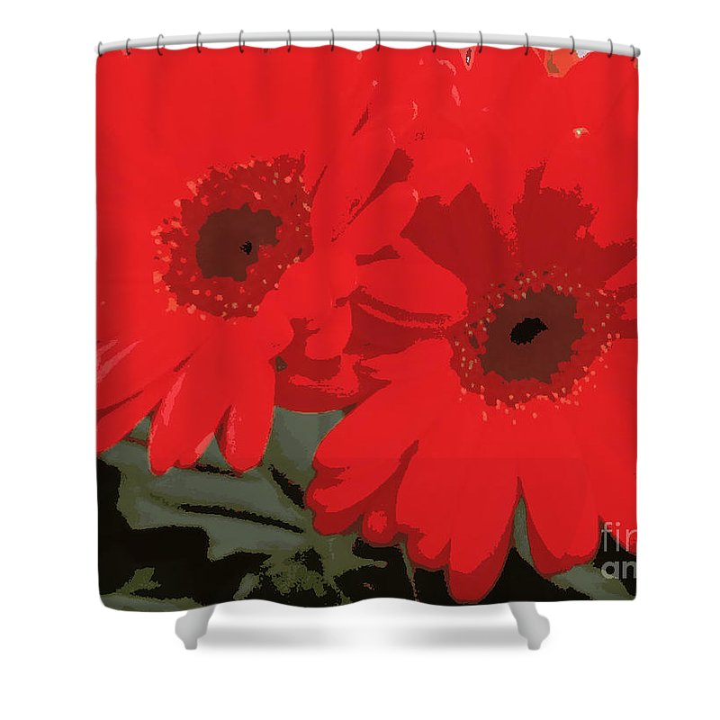 Daisys Shower Curtain featuring the photograph Red Gerberas by Pruddygurl Exclusives