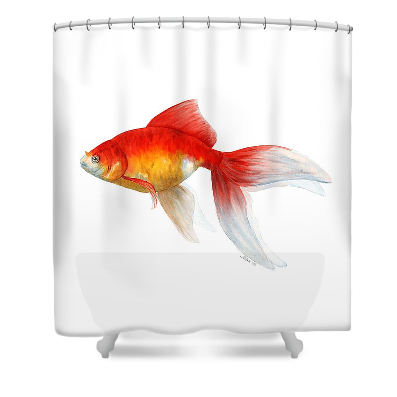 Watercolor Shower Curtain Featuring The Painting Red Goldfish By Julie Selan