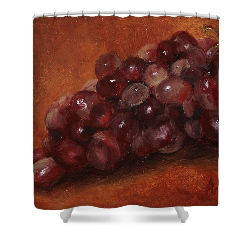 Fruit Shower Curtain featuring the painting Red Grapes by Barbara Andolsek