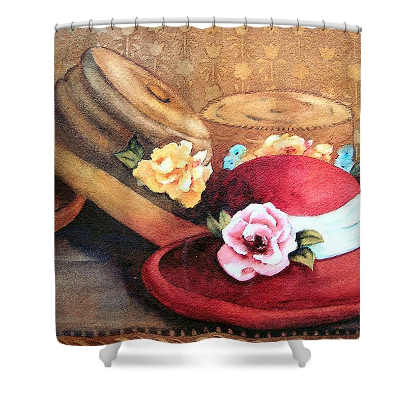 Hat Shower Curtain featuring the painting Red Hat by Karen Stark