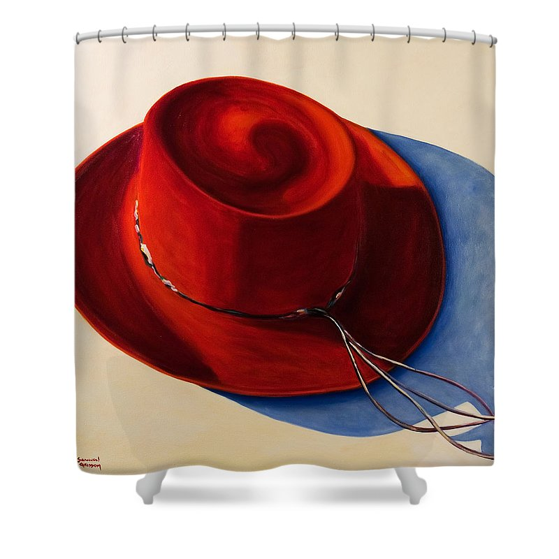 Red Hat Shower Curtain featuring the painting Red Hat by Shannon Grissom
