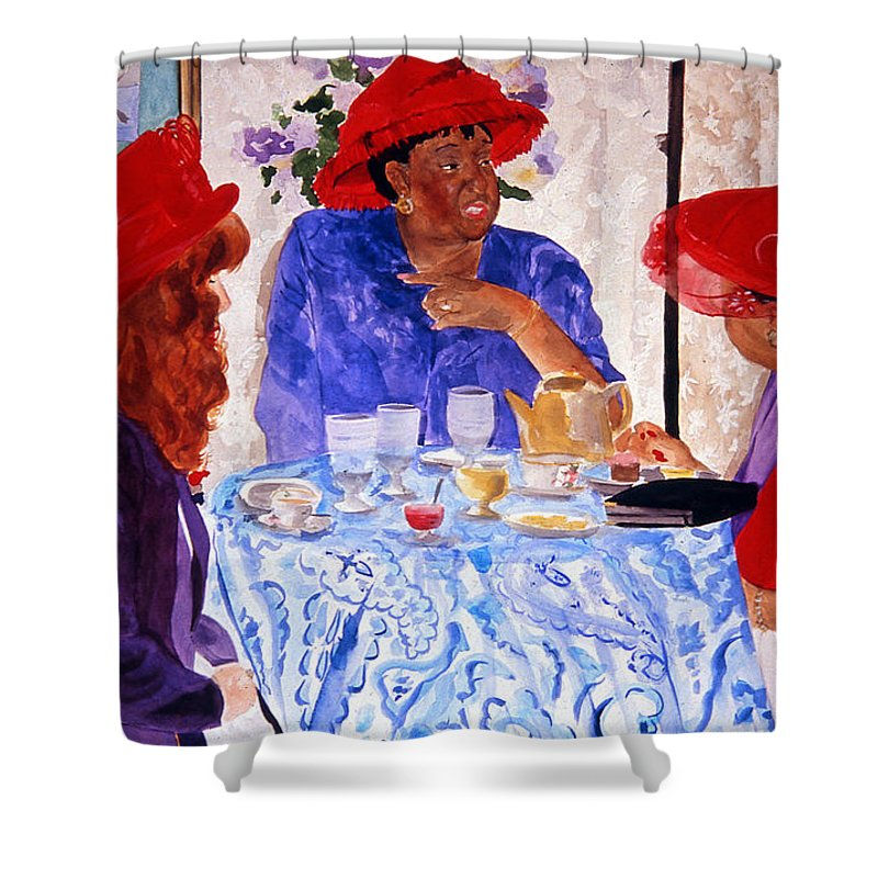 Red Hat Shower Curtain featuring the painting Red Hatters Chatter by Jean Blackmer