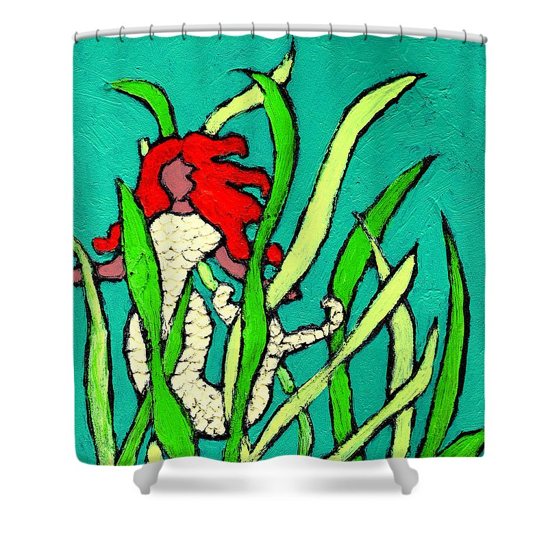 Mermaid Shower Curtain featuring the painting Red Head Mermaid by Wayne Potrafka