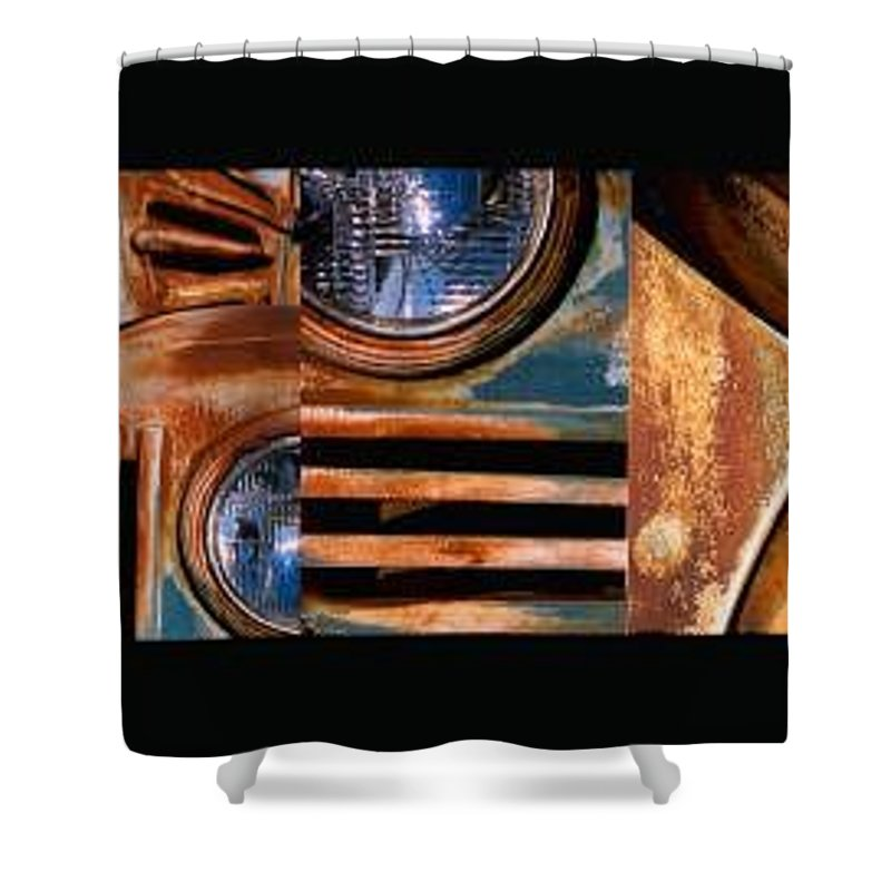 Abstract Photo Of Chevy Truck Shower Curtain featuring the photograph Red Head On by Steve Karol