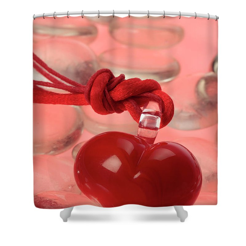 Red Shower Curtain featuring the photograph Red Heart Of Love by Stefania Levi