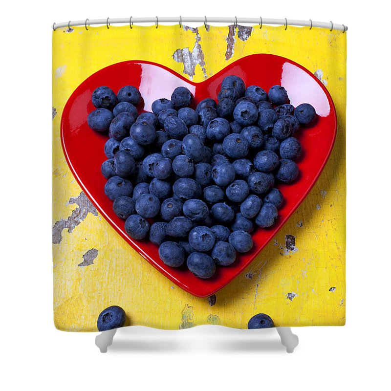 Red Heart Shaped Plate Shower Curtain featuring the photograph Red Heart Plate With Blueberries by Garry Gay