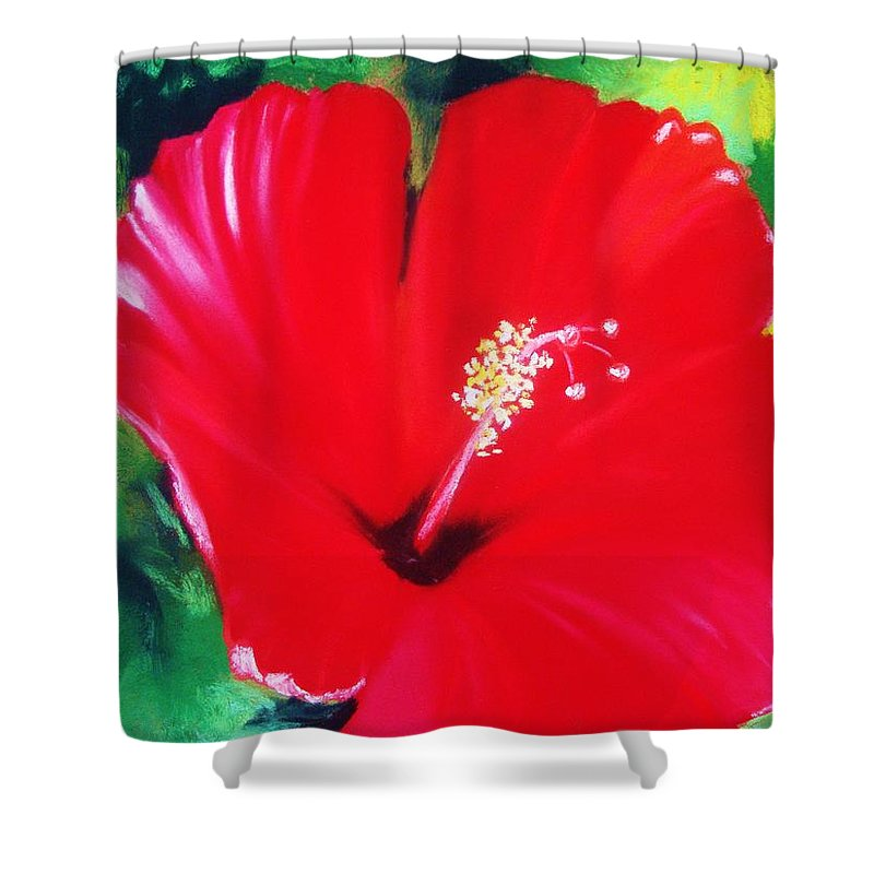 Bright Flower Shower Curtain featuring the painting Red Hibiscus by Melinda Etzold