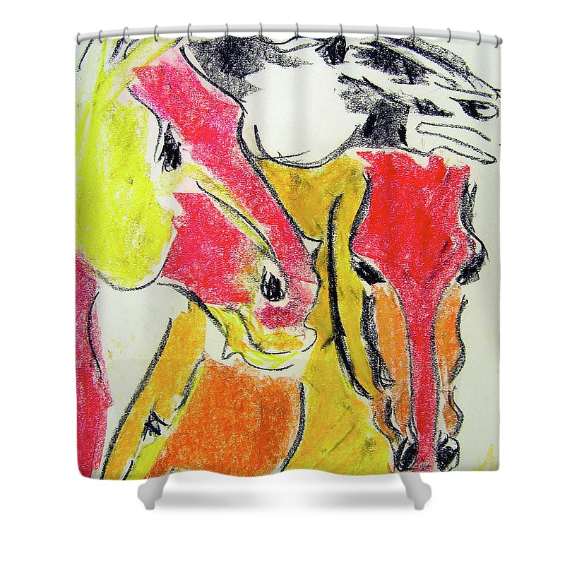Horse Shower Curtain featuring the drawing Red Horses by Donna Bernstein