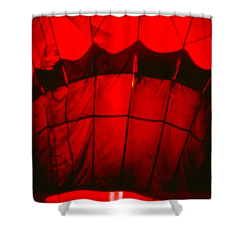 Balloon Shower Curtain featuring the photograph Red Hot Air Balloon by Thomas Marchessault