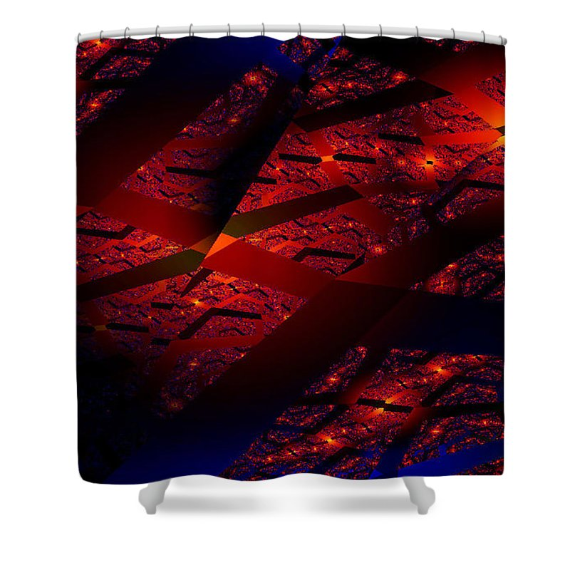 Clay Shower Curtain featuring the digital art Red Hot Confetti by Clayton Bruster