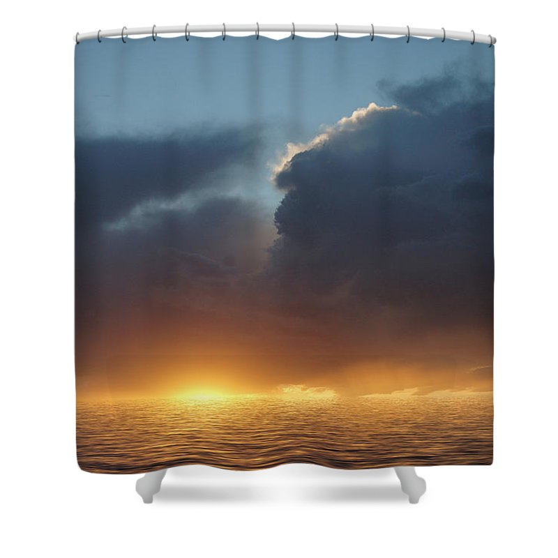 Original Art Shower Curtain featuring the photograph Red In The Morning by Jerry McElroy
