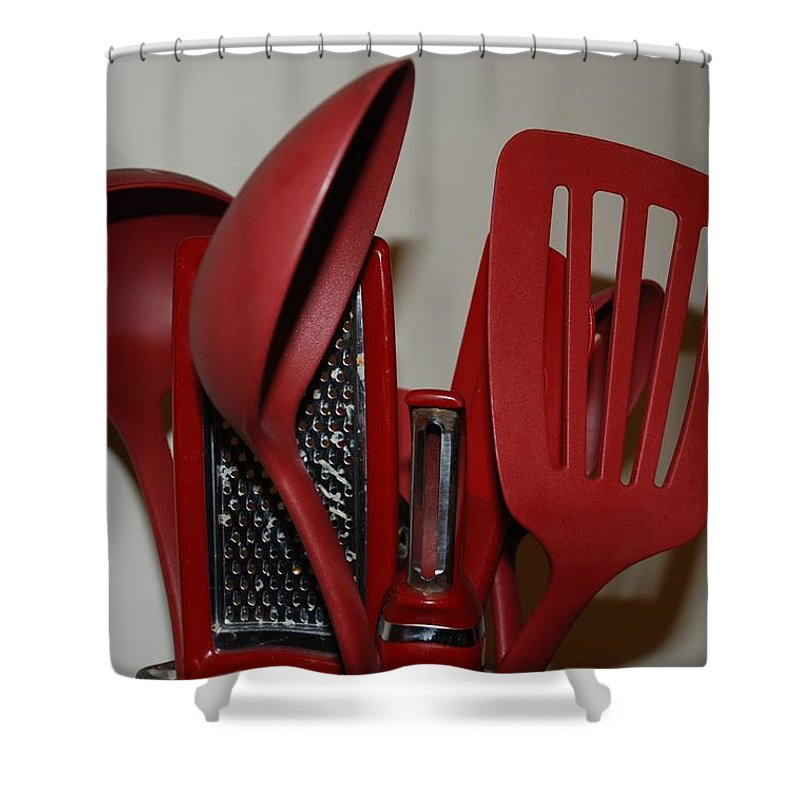Utencils Shower Curtain featuring the photograph Red Kitchen Utencils by Rob Hans