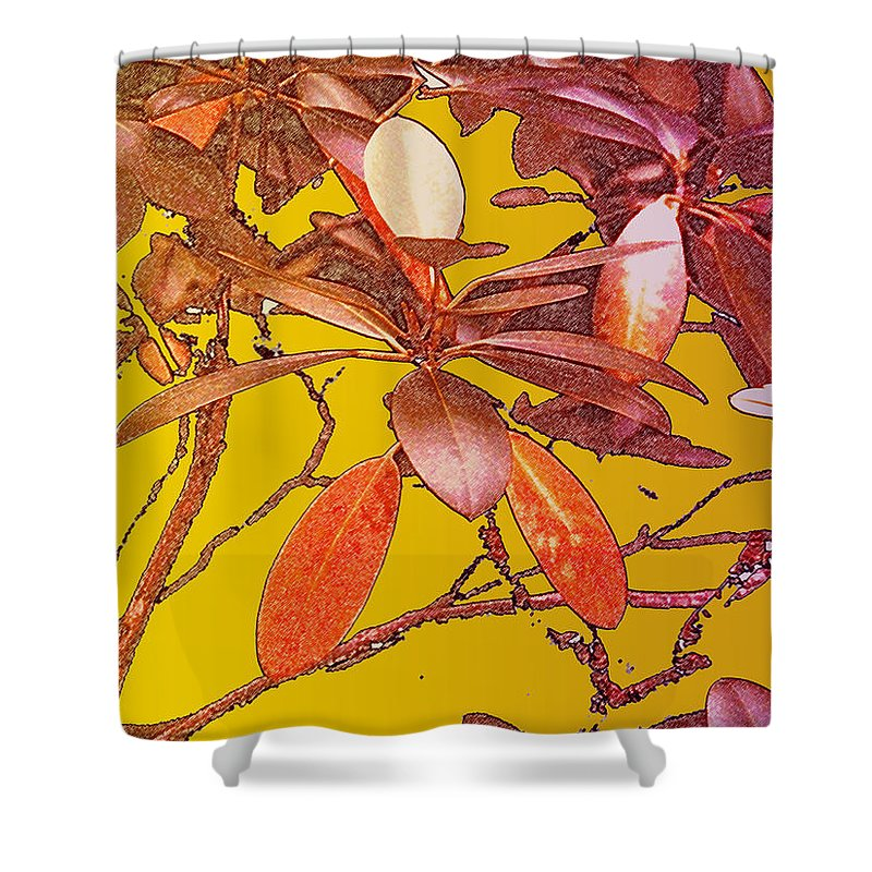 Red Shower Curtain featuring the photograph Red Leaves Gold Sunset by Ian MacDonald