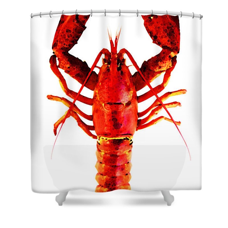 Lobster Shower Curtain Featuring The Painting Red