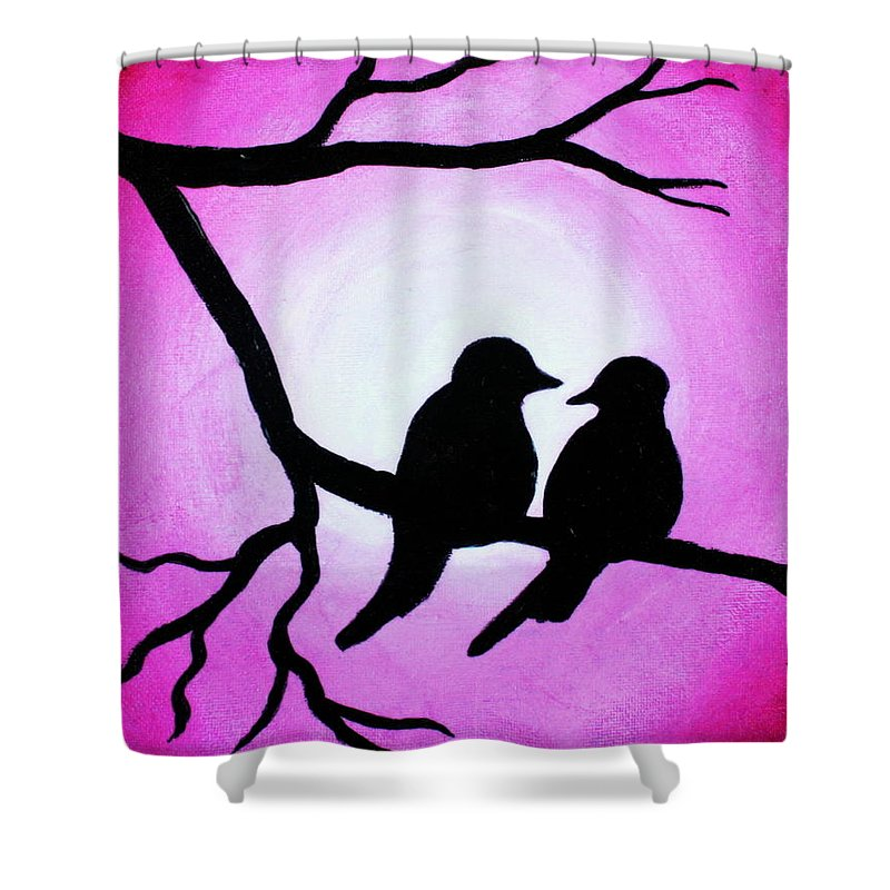 Love Birds In A Tree Black White Red Polyester Fabric