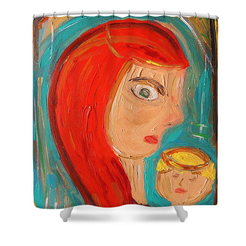 Red Shower Curtain featuring the painting Red Madonna by Mary Carol Williams