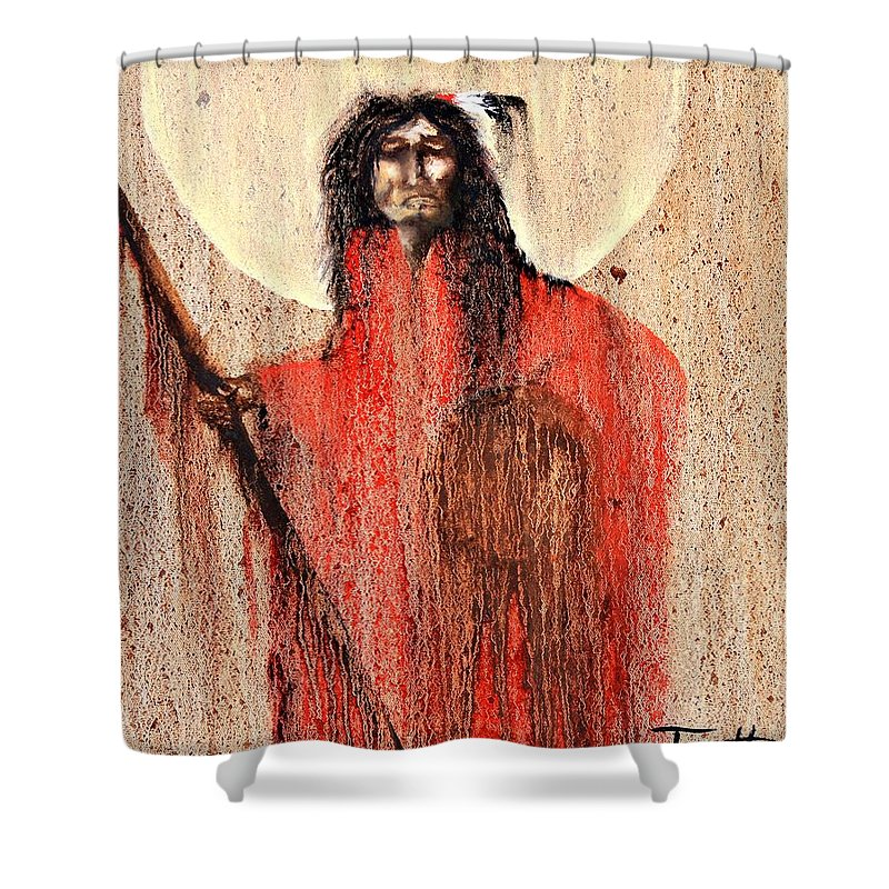 Inspirational Shower Curtain featuring the painting Red Man by Patrick Trotter