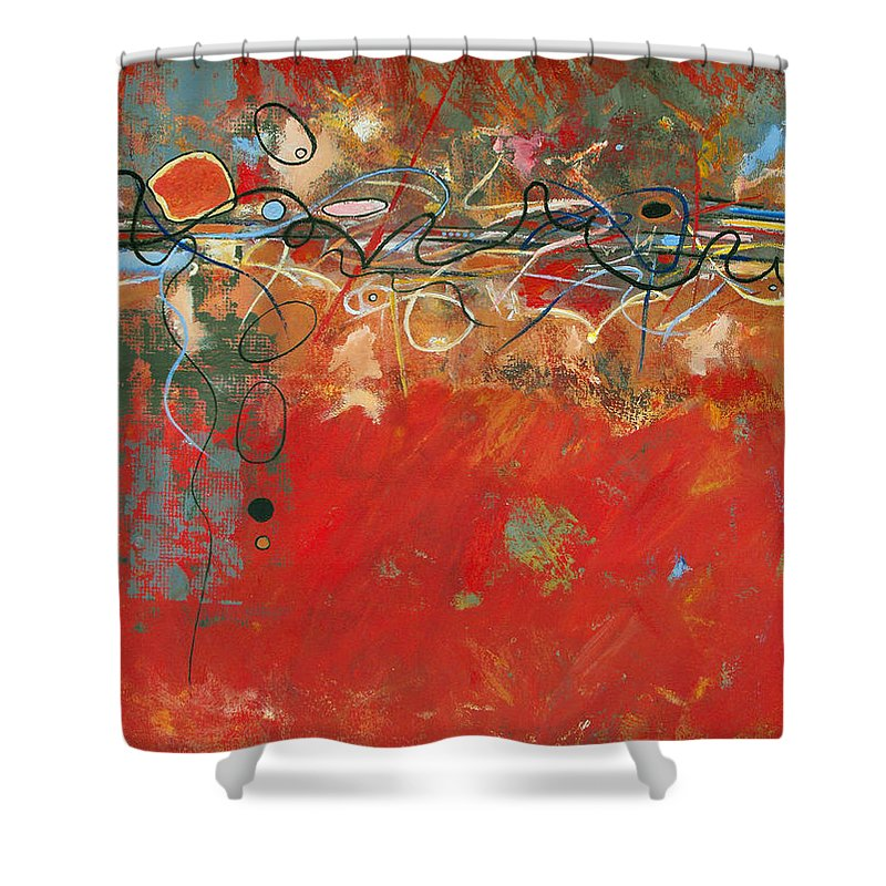 ruth Palmer Abstract Gestural Color Red Painting Acrylic Black Orange Blue Yellow Green Decorative Shower Curtain featuring the painting Red Meander by Ruth Palmer