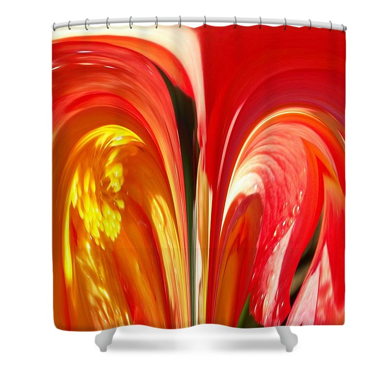 Flowers Shower Curtain featuring the photograph Red N Yellow Flowers 4 by Tim Allen