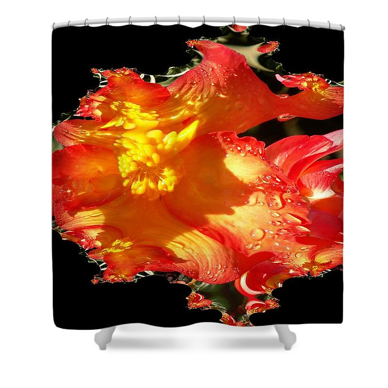 Flowers Shower Curtain featuring the digital art Red N Yellow Flowers by Tim Allen