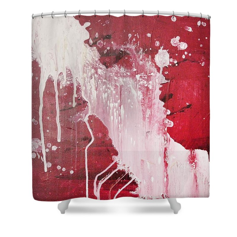 Warm Red And White Catchment Shower Curtain featuring the painting Red Number Seven by Erkki Poso