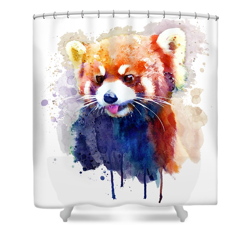 Red Panda Shower Curtain Featuring The Painting Portrait By Marian Voicu