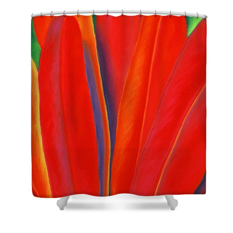 Red Shower Curtain featuring the painting Red Petals by Lucy Arnold