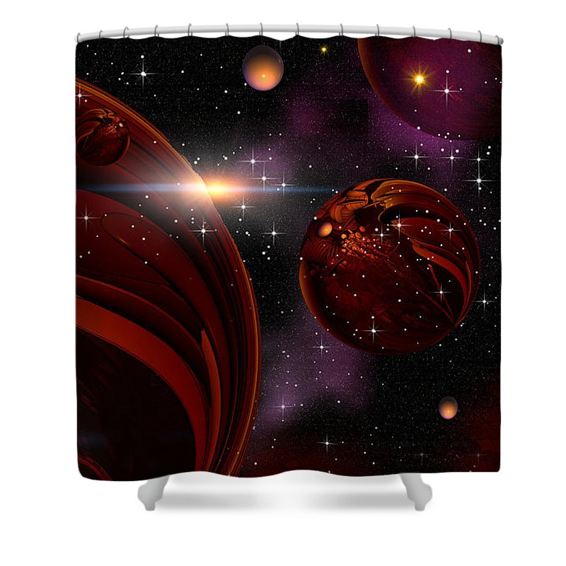 Art Shower Curtain featuring the digital art red by Phil Sadler